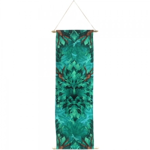 BANNER - Green Man Print on French Crepe 36x90cm