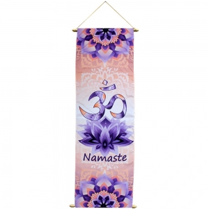 BANNER - Om Namaste Print on French Crepe 36x90cm