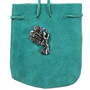 SUEDE POUCH - Turquoise with Angel Charm 7cm x 8cm