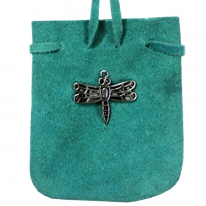 SUEDE POUCH - Turquoise with Dragonfly Charm 7cm x 8cm