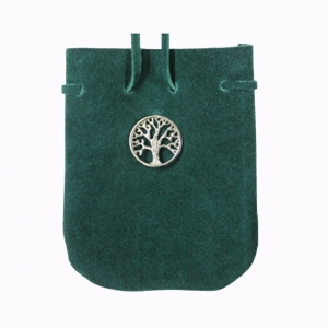 Tree Suede Pouch with String 8.25 x 7cm