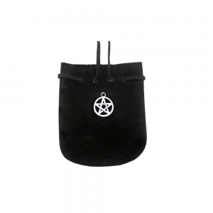 SUEDE POUCH-BLACK PENTACLE