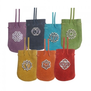 """7 Chakra Suede Pouch 3.25""""x 2.75"""" (Set of 7)"""