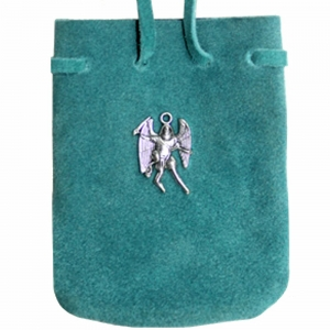 SUEDE POUCH - Turquoise with St Michael Charm 7cm x 8cm