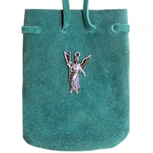 SUEDE POUCH - Turquoise with St Raphael Charm 7cm x 8cm