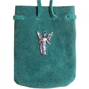 SUEDE POUCH - Turquoise with St Gabriel Charm 7cm x 8cm