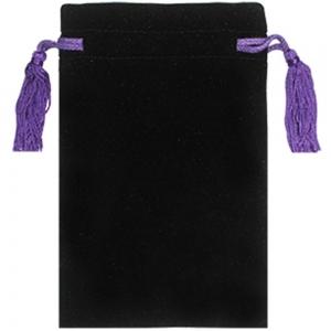 Velvet Bag with Purple Tassels  12.5cm X 20cm