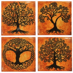 Tree of Life Ceramic Coaster Set of 4