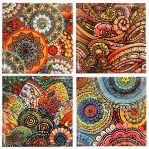 Multi Colour Ceramic Coaster Set of 4