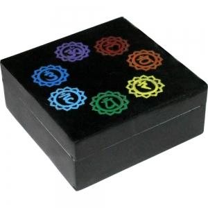 """7 Chakra Soapstone Box 4""""x4"""""""