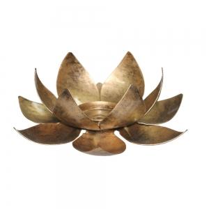 CANDLE HOLDER - Lotus Antique Gold 5cm x 15cm