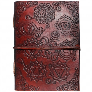 LEATHER JOURNAL - Chakra with Leather String 7cmx 10cm