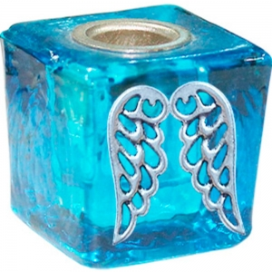 Angel Wings Turquoise Wish Candle Holder 3cm
