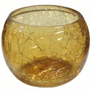 CANDLE HOLDER - Cracked Glass Gold Tea Light Holder