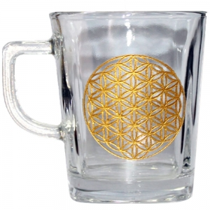 Flower of Life Print Glass Tea Cup