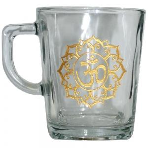 Om Print Glass Tea Cup