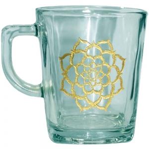 Lotus Print Glass Tea Cup
