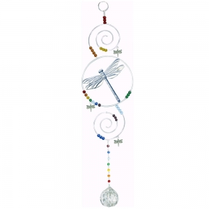 Chakra Dragonfly with Clear Crystal Cut Glass Bead