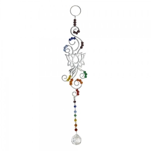 Chakra Lotus with Clear Crystal Cut Glass Bead
