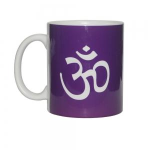 White Om Print Ceramic Mug
