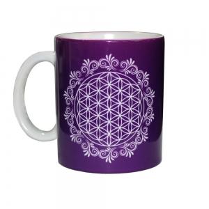 White Flower of Life Ceramic Mug