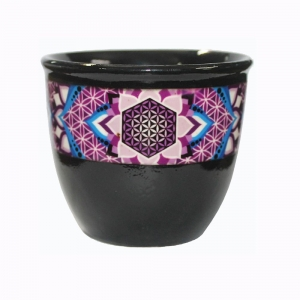Flower of Life Black Smudge Bowl Small