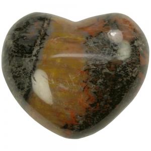 HEART - Petrified Wood Red Puff  45mm