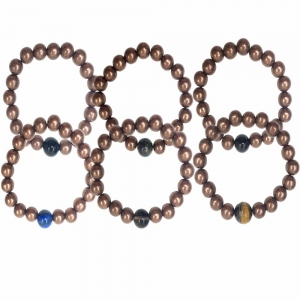 BRACELET - 10MM COPPER BEADS WITH ONE STONE BEAD