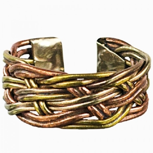 Copper and Brass Braid Ring