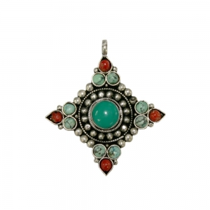 PENDANT - Brass Turquoise and Coral 5.7cm