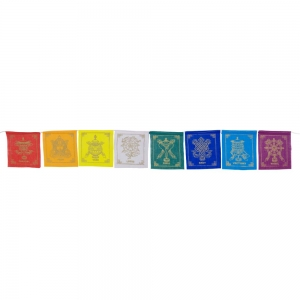 PRAYER FLAG - Eight Auspicious Symbols 8 Flaps 105cm