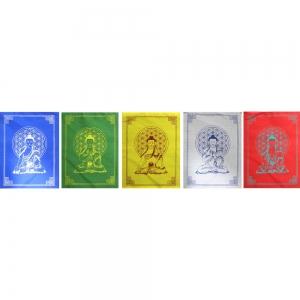 PRAYER FLAGS - Buddha with Flower of Life 10 Flaps 25cm x 15cm 210cm long