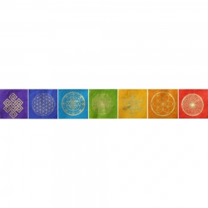 PAPER PRAYER FLAGS - Sacred Geometry 21 Flaps 11CM X 11cm 250cm long