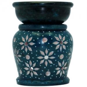 """2.5"""" Flowers Design Turquoise Oil Burner"""