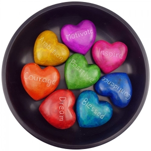 Soapstone Hearts (Set of 40) with Round Tray