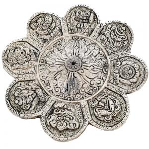 ALUMINIUM INCENSE BURNER - 8 Auspicious Symbols 11cm