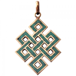 TIBETAN PENDANT - Eternity Knot Brass