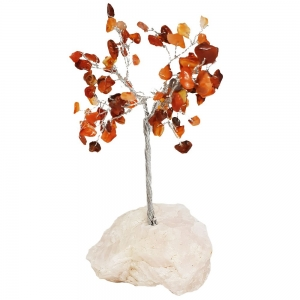 15cm Carnelian Tree with Crystal Base