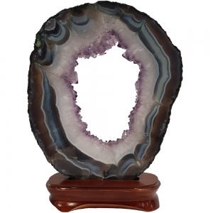 Agate Slice with Amethsyt Stand 1.44kg