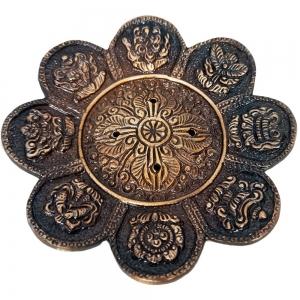 ALUMINIUM INCENSE BURNER - 8 Auspicios Symbols Antique 11.5cm