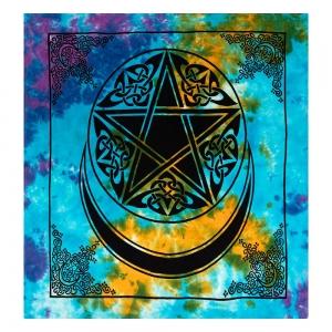 ALTAR CLOTH - Pentacle Moon Tie Dye Cotton 100x100cm