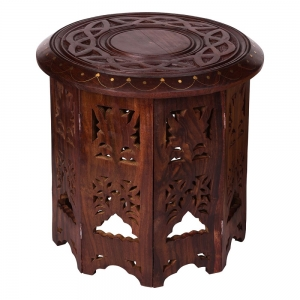 Celtic Knot Carved Round Altar Table - 30*30*30 cm
