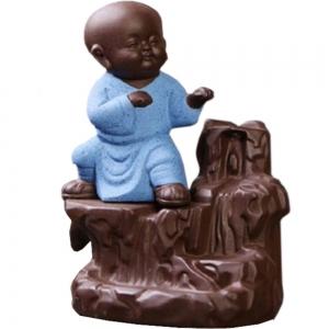 Kung Fu Monk Light Blue Backflow Incense Burner 12.5x7cm