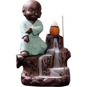 Kung Fu Monk Blue Backflow Incense Burner 12.5x7cm