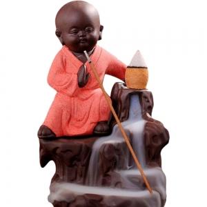 Kung Fu Monk Peach Backflow Incense Burner 12.5x7cm
