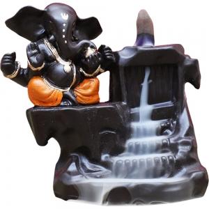 Ganesh Orange Backflow Incense Burner 16x13cm