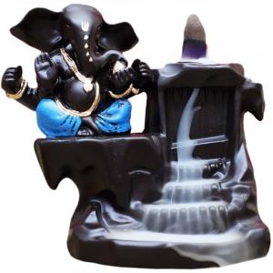 Ganesh Blue Backflow Incense Burner 16x13cm