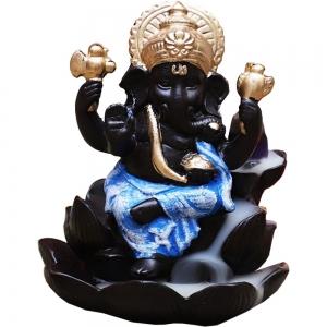 Ganesh Lotus Blue Backflow Incense Burner 11x9.6cm