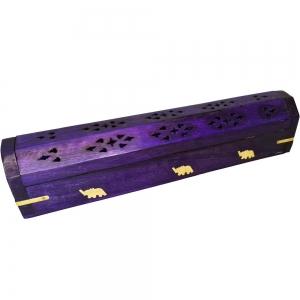BOX INCENSE HOLDER - Elephant Purple Painted 30cm