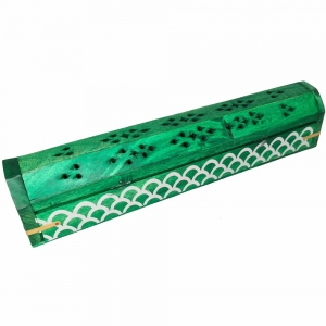 BOX INCENSE HOLDER - Green Painted 30cm